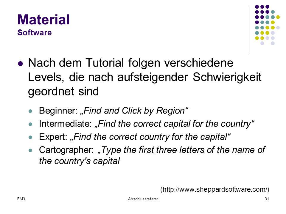 Material Software Nach dem Tutorial folgen verschiedene Levels, die nach aufsteigender Schwierigkeit geordnet sind.