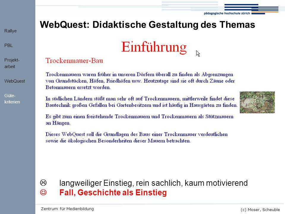 WebQuest: Didaktische Gestaltung des Themas