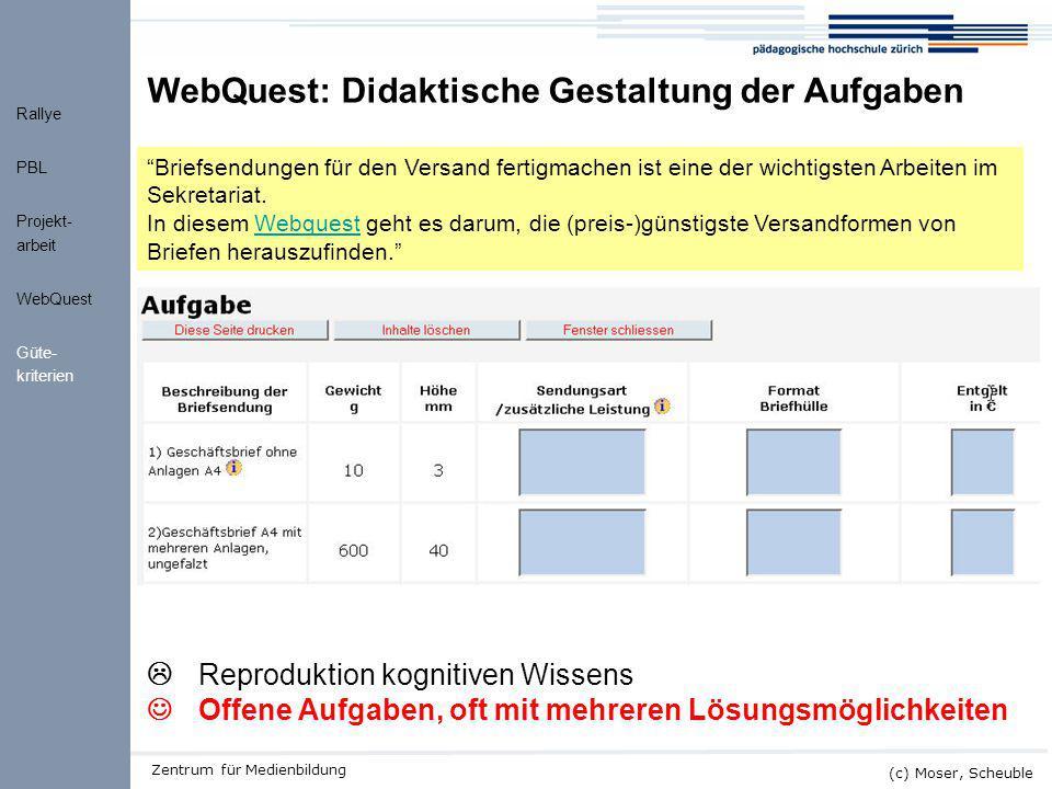 WebQuest: Didaktische Gestaltung der Aufgaben