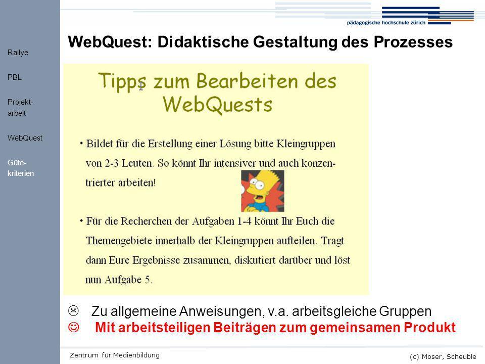 WebQuest: Didaktische Gestaltung des Prozesses