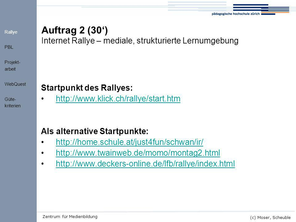 Auftrag 2 (30') Internet Rallye – mediale, strukturierte Lernumgebung