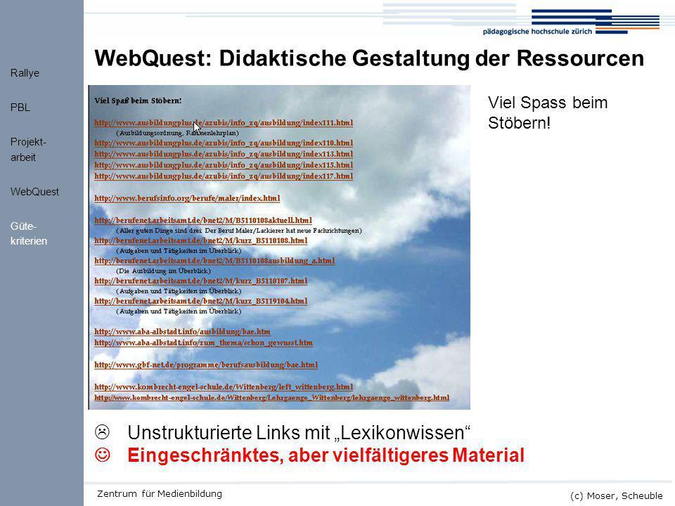 WQ Ressourcen WebQuest: Didaktische Gestaltung der Ressourcen