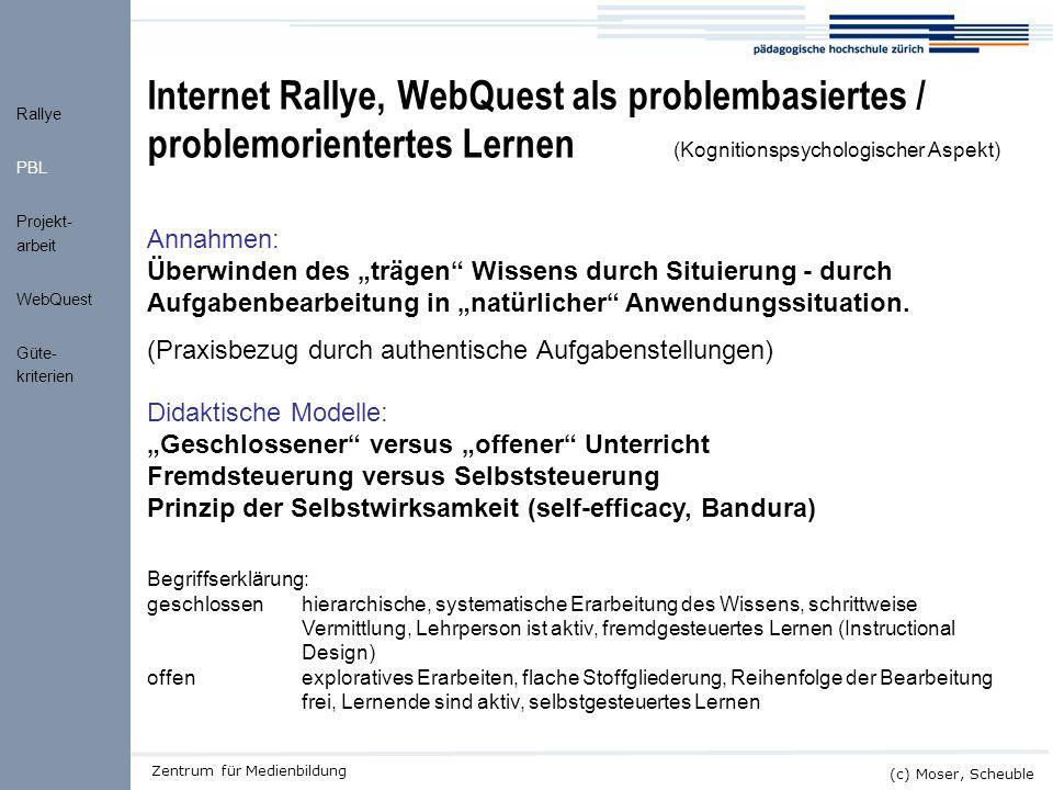 Internet Rallye, WebQuest als problembasiertes / problemorientertes Lernen (Kognitionspsychologischer Aspekt)