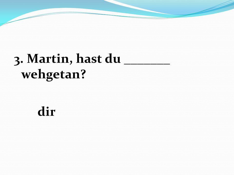 3. Martin, hast du _______ wehgetan dir