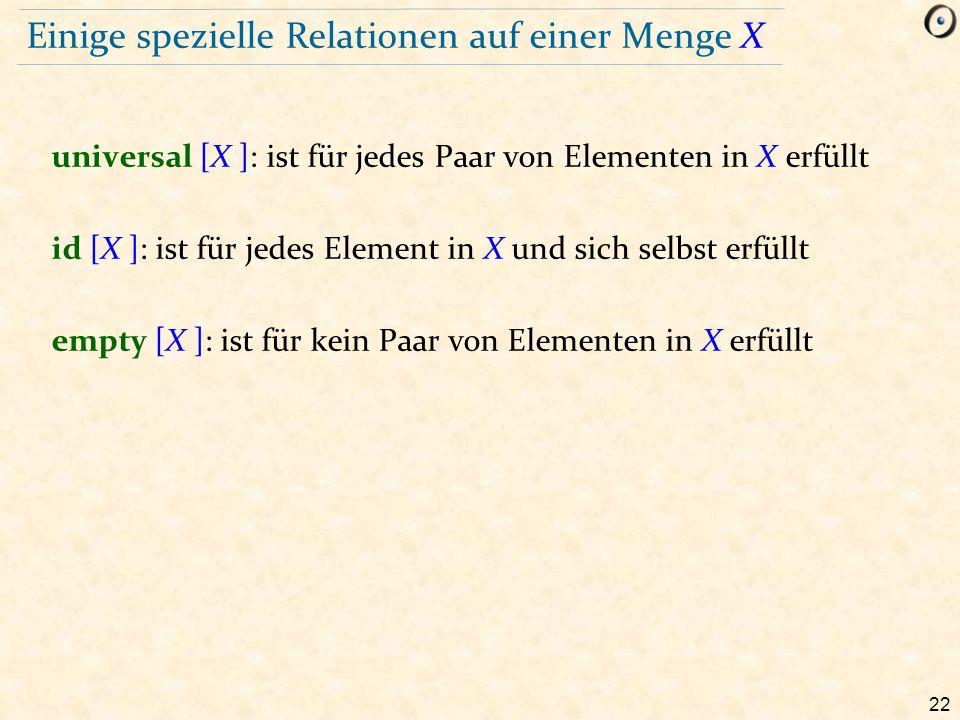 Einige spezielle Relationen auf einer Menge X