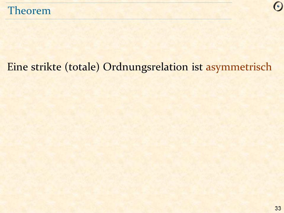 Theorem Eine strikte (totale) Ordnungsrelation ist asymmetrisch