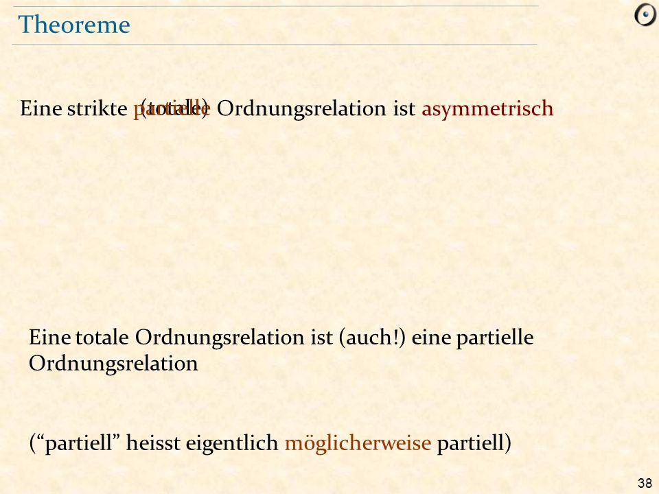 Theoreme Eine strikte Ordnungsrelation ist asymmetrisch partielle
