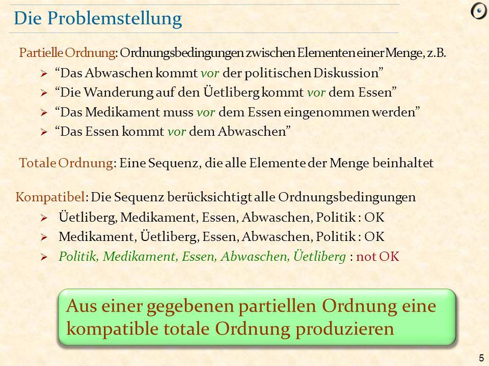 Die Problemstellung Partielle Ordnung: Ordnungsbedingungen zwischen Elementen einer Menge, z.B. Das Abwaschen kommt vor der politischen Diskussion
