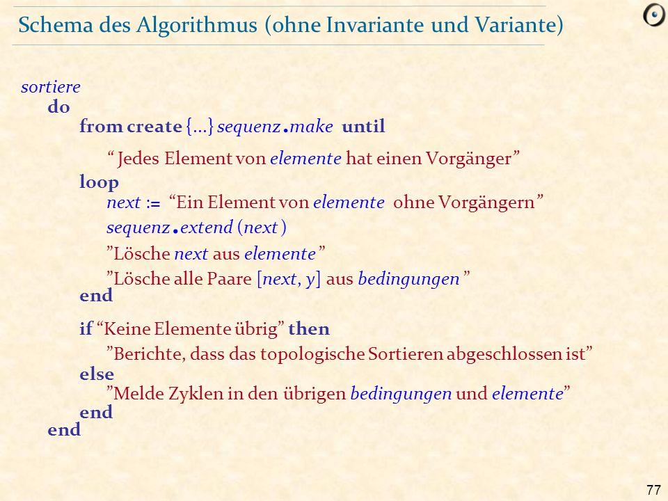 Schema des Algorithmus (ohne Invariante und Variante)