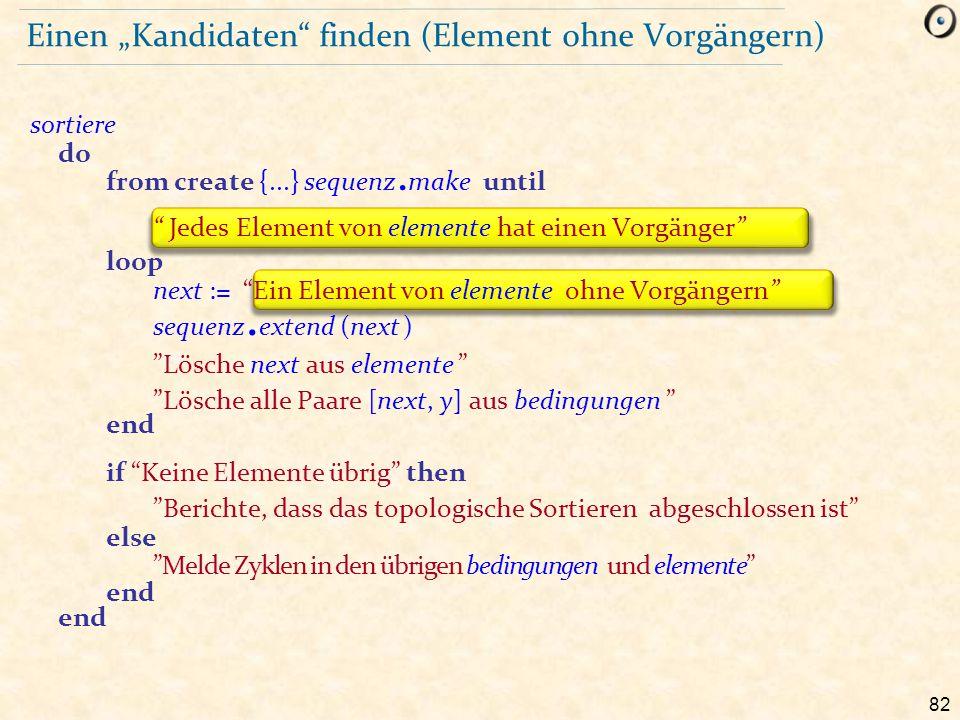 """Einen """"Kandidaten finden (Element ohne Vorgängern)"""