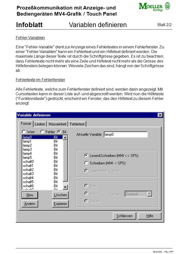 Variablen definieren Blatt 2/2 Fehler-Variablen