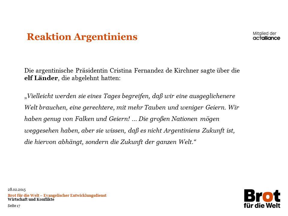Reaktion Argentiniens