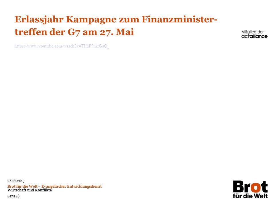 Erlassjahr Kampagne zum Finanzminister-