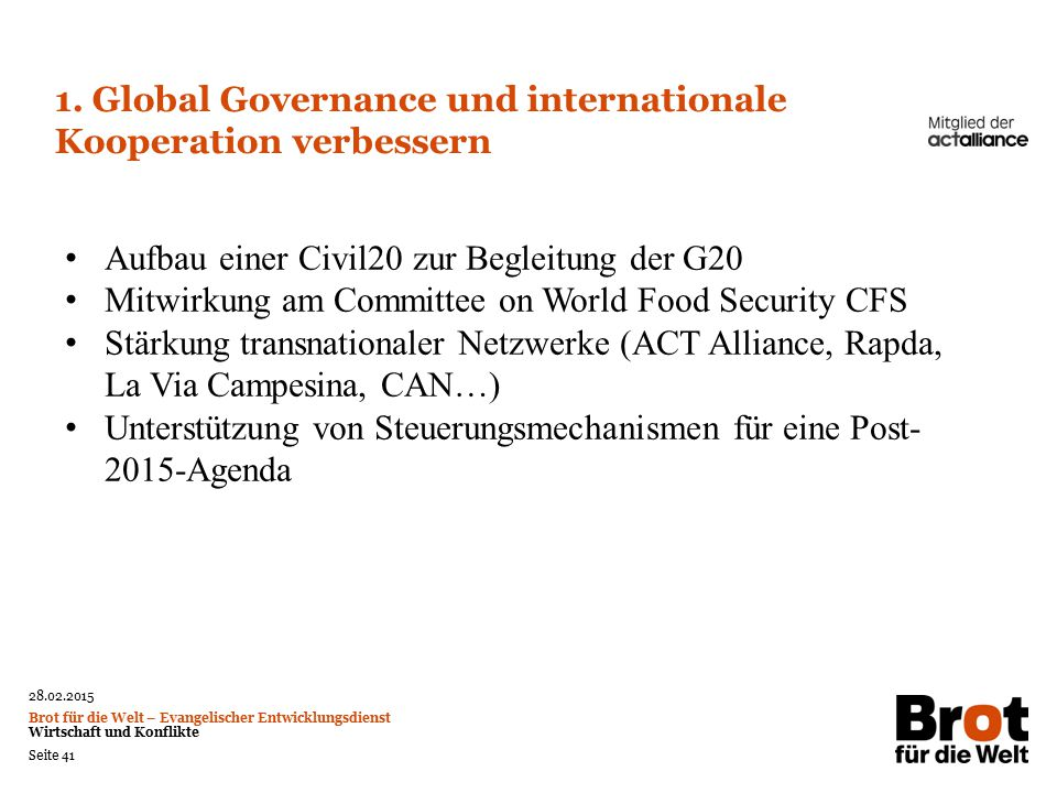 1. Global Governance und internationale