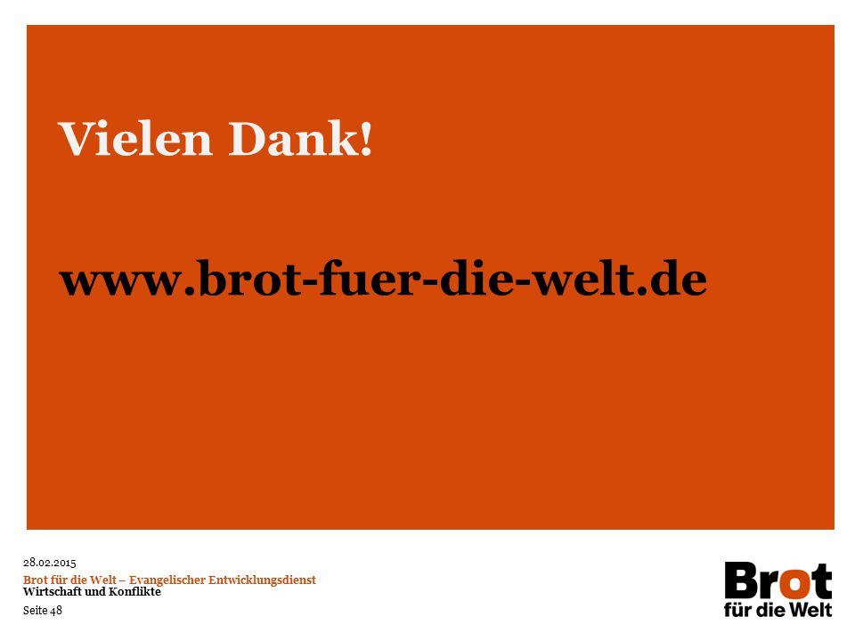 Vielen Dank! www.brot-fuer-die-welt.de 48