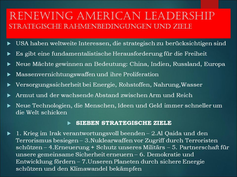 Renewing american leadership strategische rahmenbedingungen und ziele