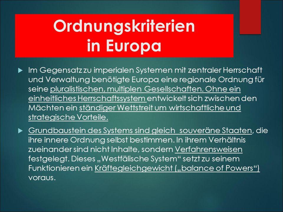 Ordnungskriterien in Europa