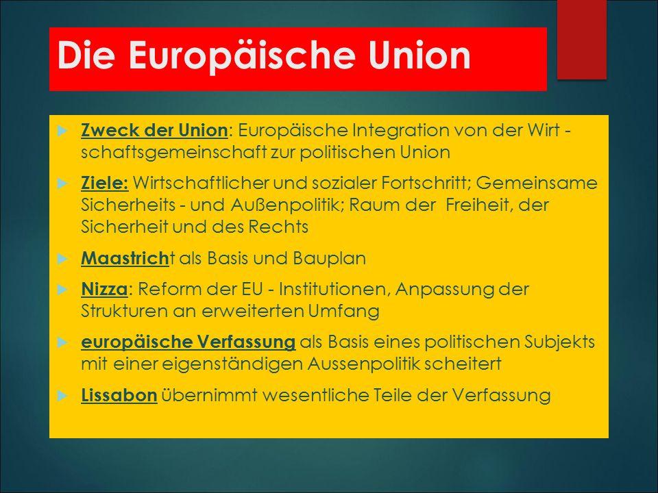 Die Europäische Union Zweck der Union: Europäische Integration von der Wirt - schaftsgemeinschaft zur politischen Union.