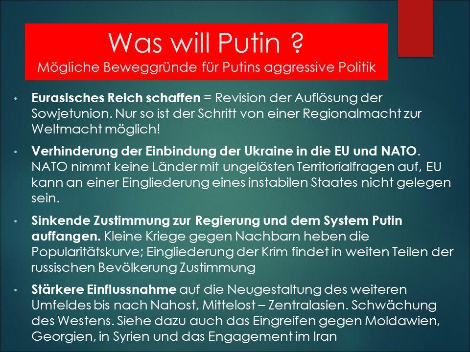 Was will Putin Mögliche Beweggründe für Putins aggressive Politik