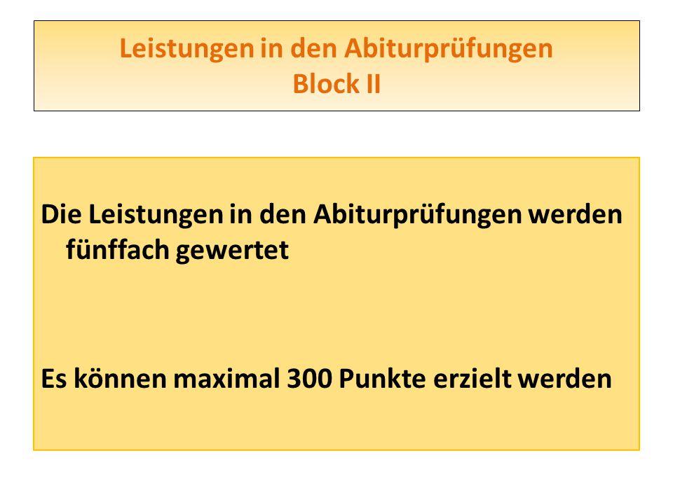 Leistungen in den Abiturprüfungen Block II