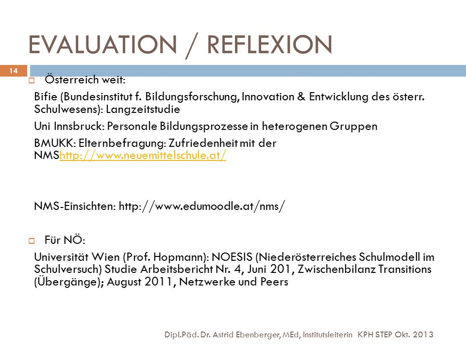EVALUATION / REFLEXION