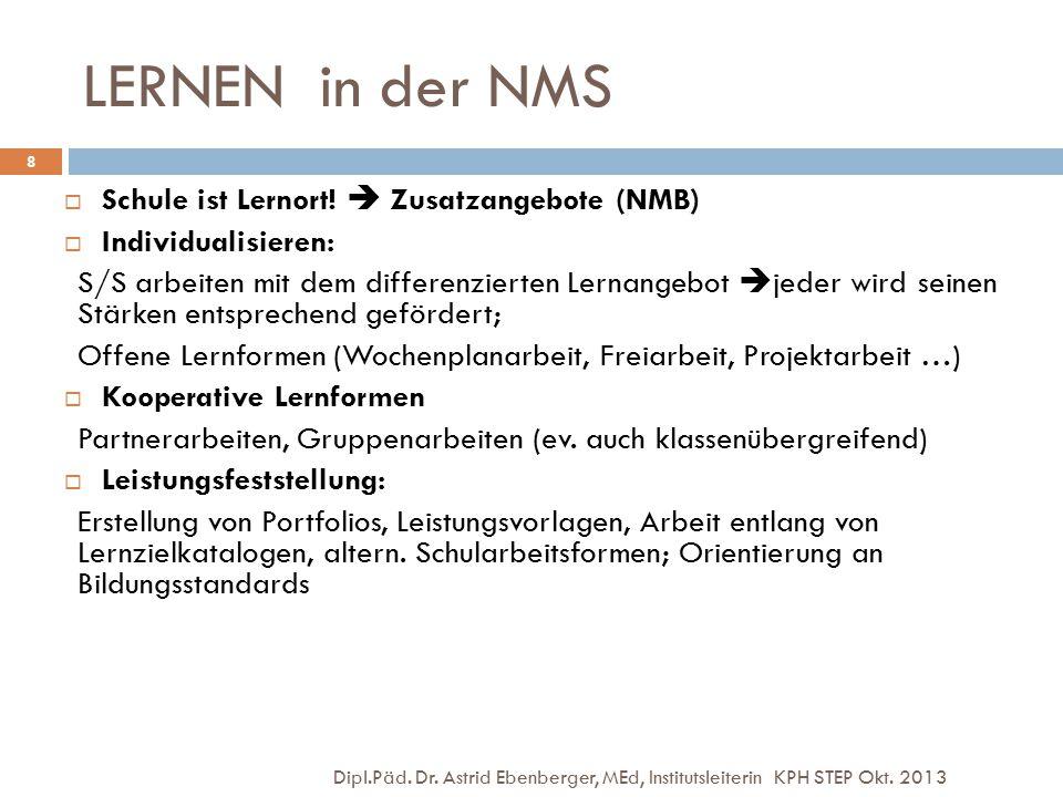 LERNEN in der NMS Schule ist Lernort!  Zusatzangebote (NMB)