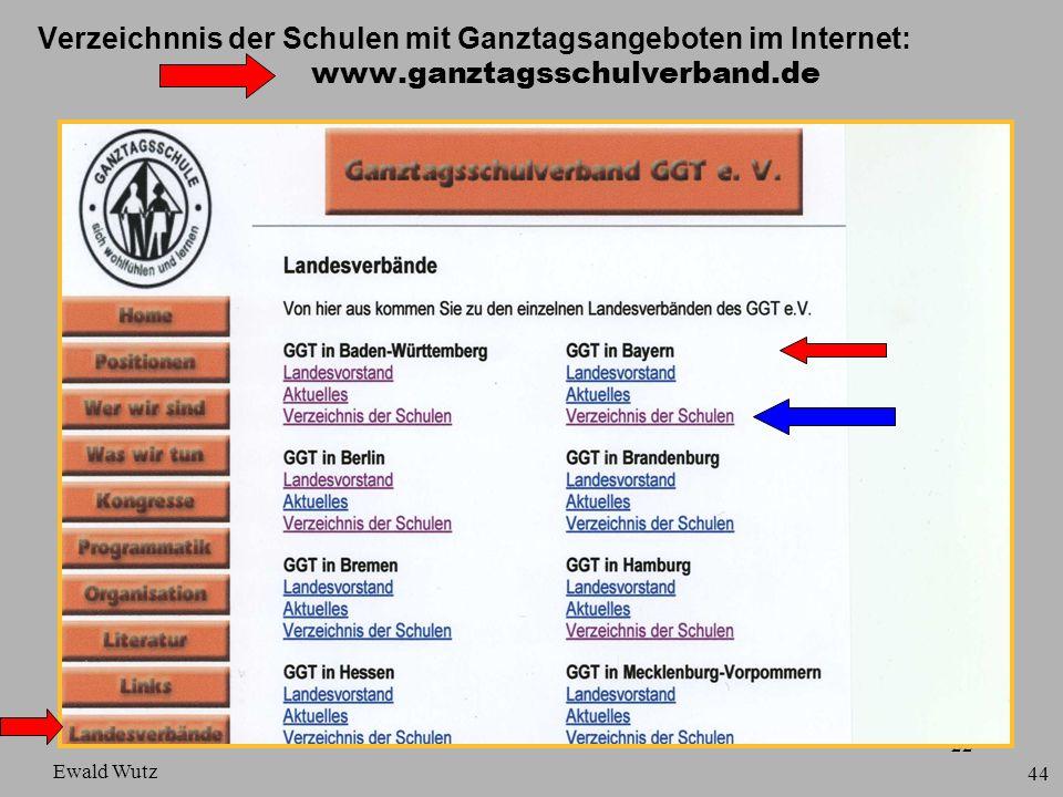 Verzeichnnis der Schulen mit Ganztagsangeboten im Internet: www