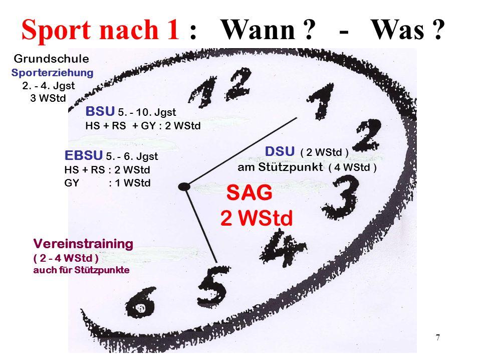 Sport nach 1 : Wann - Was 2 WStd Motto: SAG Gemeinsam bewegen ...