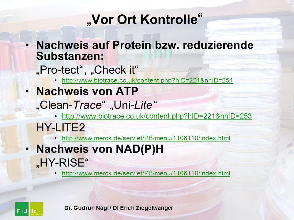 """""""Vor Ort Kontrolle Nachweis auf Protein bzw. reduzierende Substanzen:"""