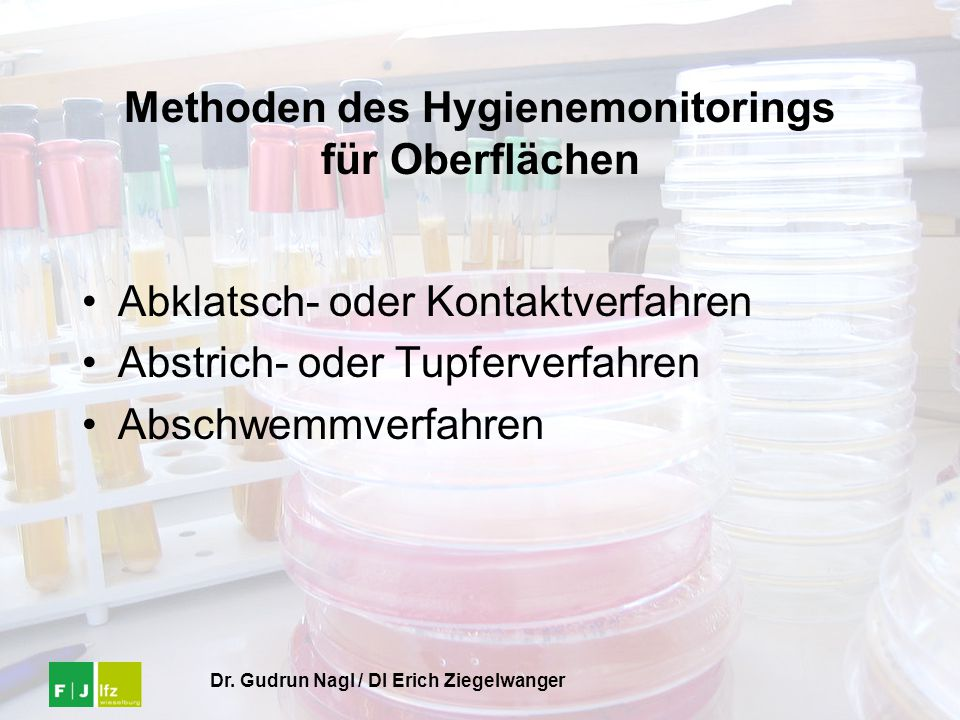 Methoden des Hygienemonitorings für Oberflächen