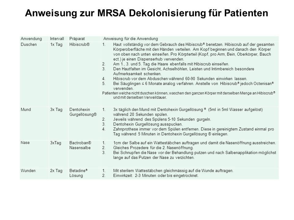 Anweisung zur MRSA Dekolonisierung für Patienten