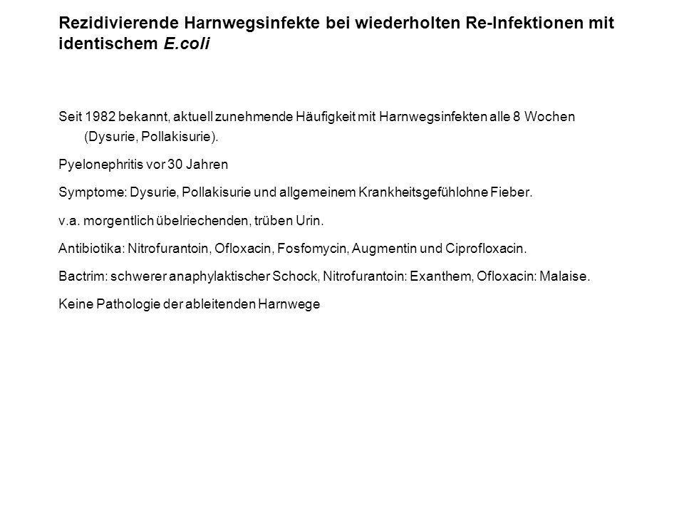 Rezidivierende Harnwegsinfekte bei wiederholten Re-Infektionen mit identischem E.coli
