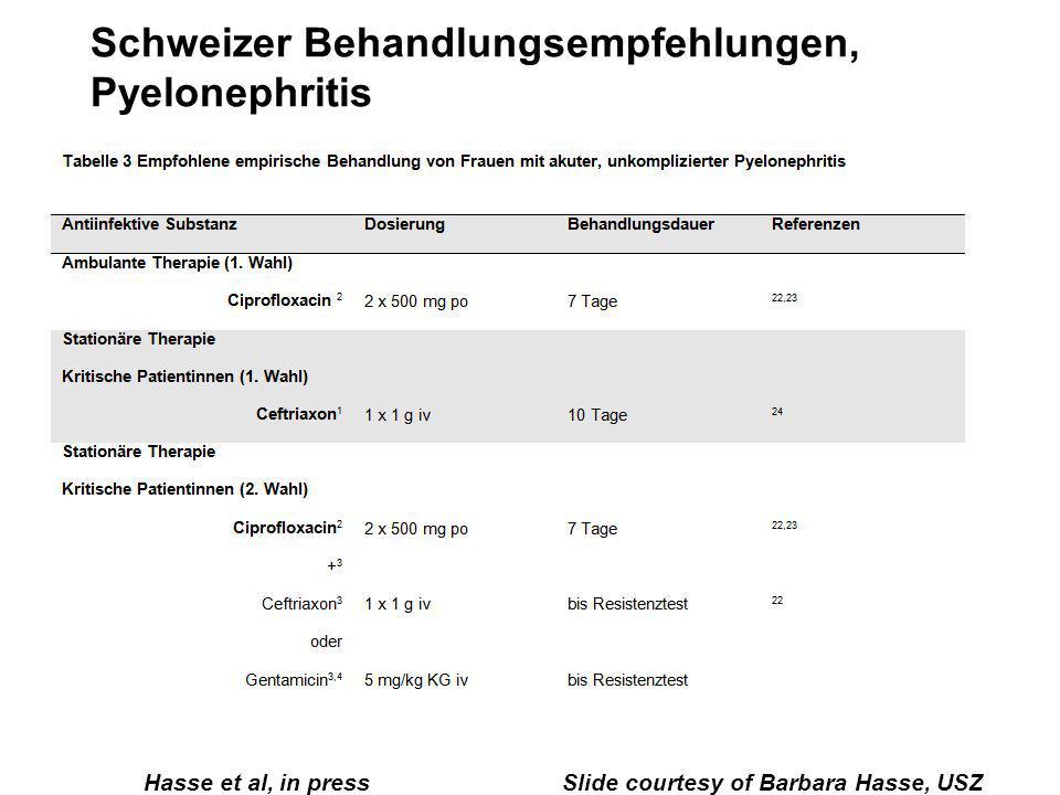 Schweizer Behandlungsempfehlungen, Pyelonephritis