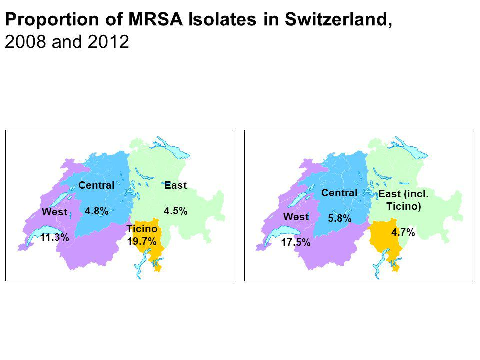 Proportion of MRSA Isolates in Switzerland, 2008 and 2012