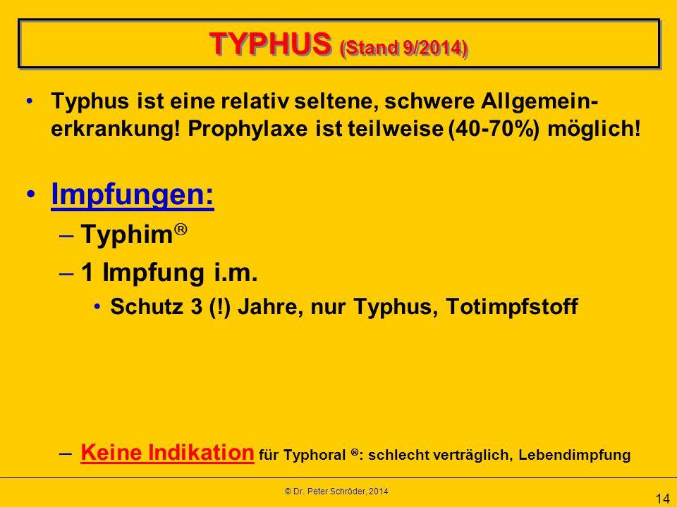 TYPHUS (Stand 9/2014) Impfungen: Typhim 1 Impfung i.m.