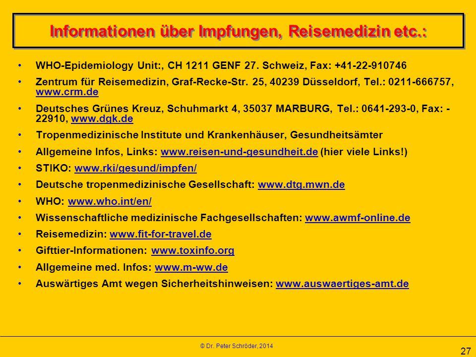 Informationen über Impfungen, Reisemedizin etc.: