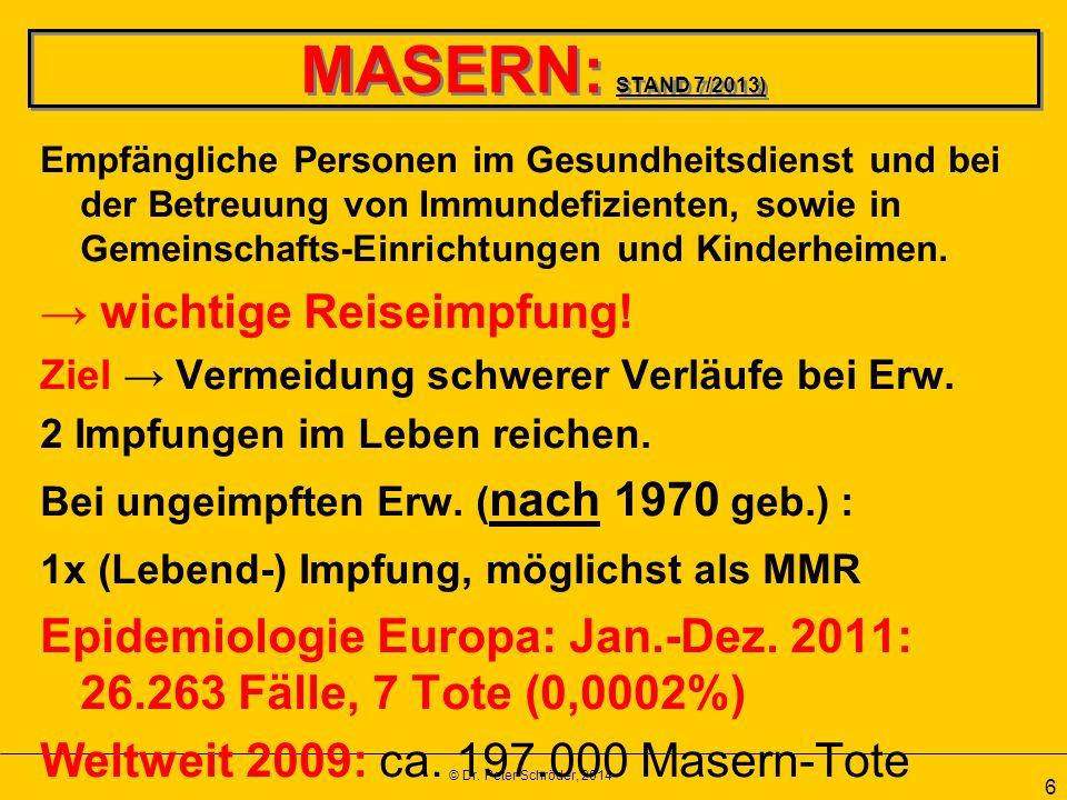 MASERN: STAND 7/2013) → wichtige Reiseimpfung!