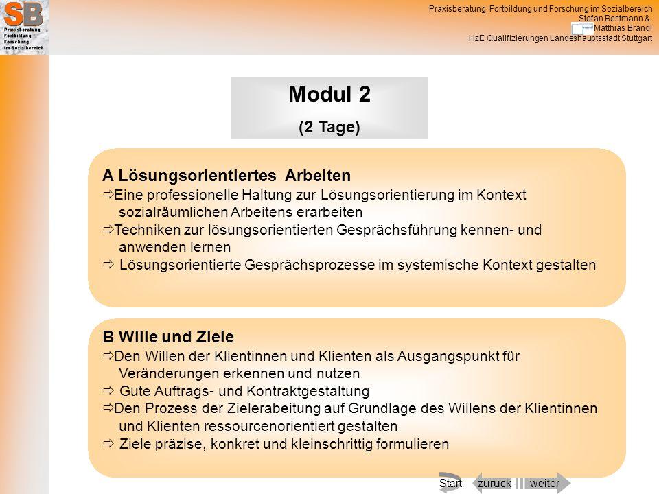 Modul 2 (2 Tage) A Lösungsorientiertes Arbeiten B Wille und Ziele