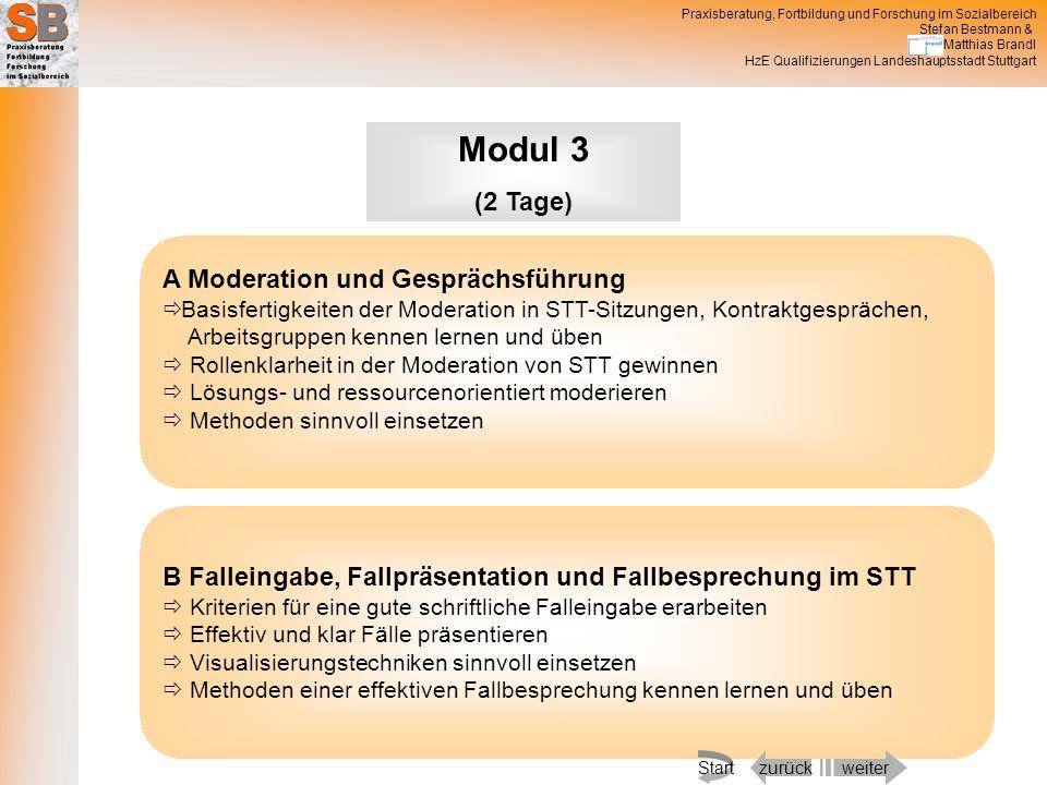 Modul 3 (2 Tage) A Moderation und Gesprächsführung