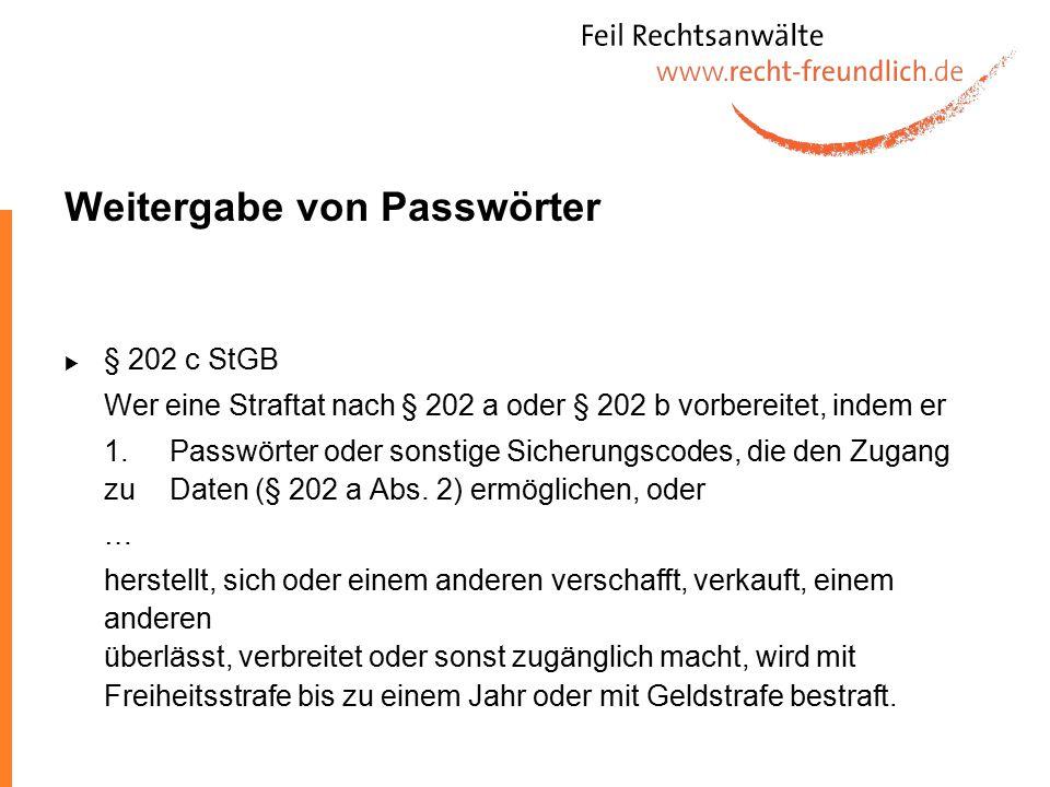 Weitergabe von Passwörter