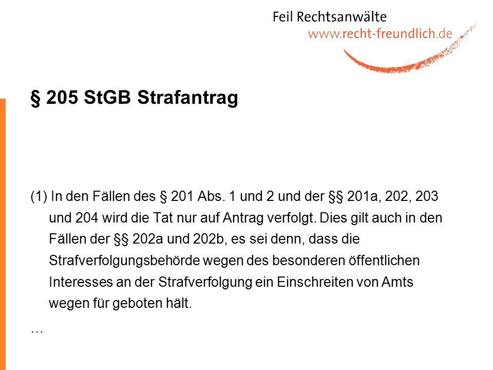 § 205 StGB Strafantrag