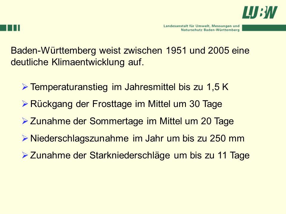 Baden-Württemberg weist zwischen 1951 und 2005 eine deutliche Klimaentwicklung auf.