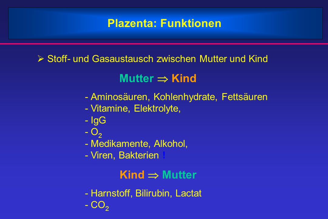 Plazenta: Funktionen Mutter  Kind Kind  Mutter