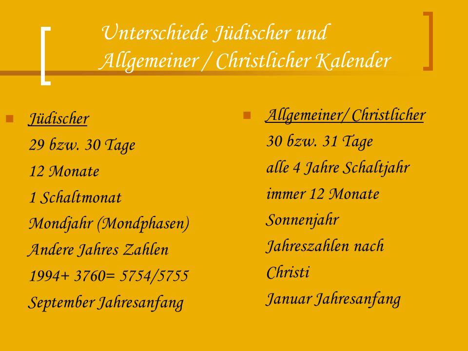 Unterschiede Jüdischer und Allgemeiner / Christlicher Kalender