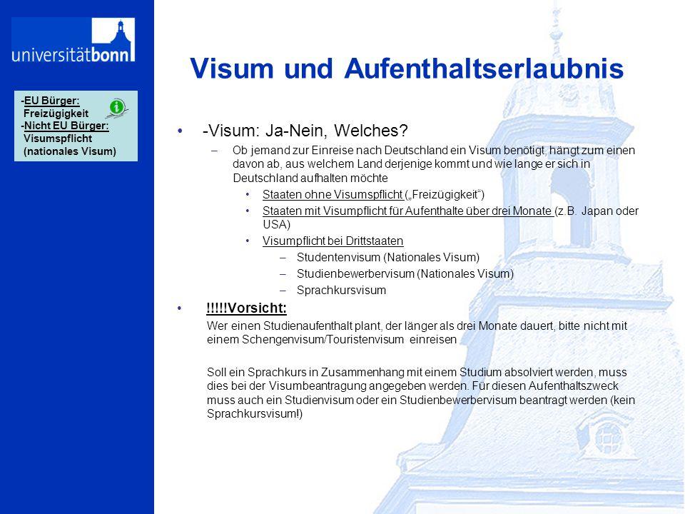 Visum und Aufenthaltserlaubnis