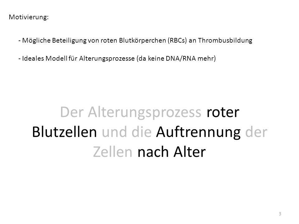 Motivierung: Mögliche Beteiligung von roten Blutkörperchen (RBCs) an Thrombusbildung. Ideales Modell für Alterungsprozesse (da keine DNA/RNA mehr)