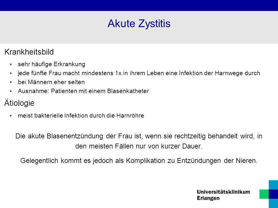 Akute Zystitis Krankheitsbild Ätiologie