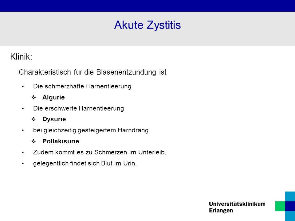 Akute Zystitis Klinik: Charakteristisch für die Blasenentzündung ist