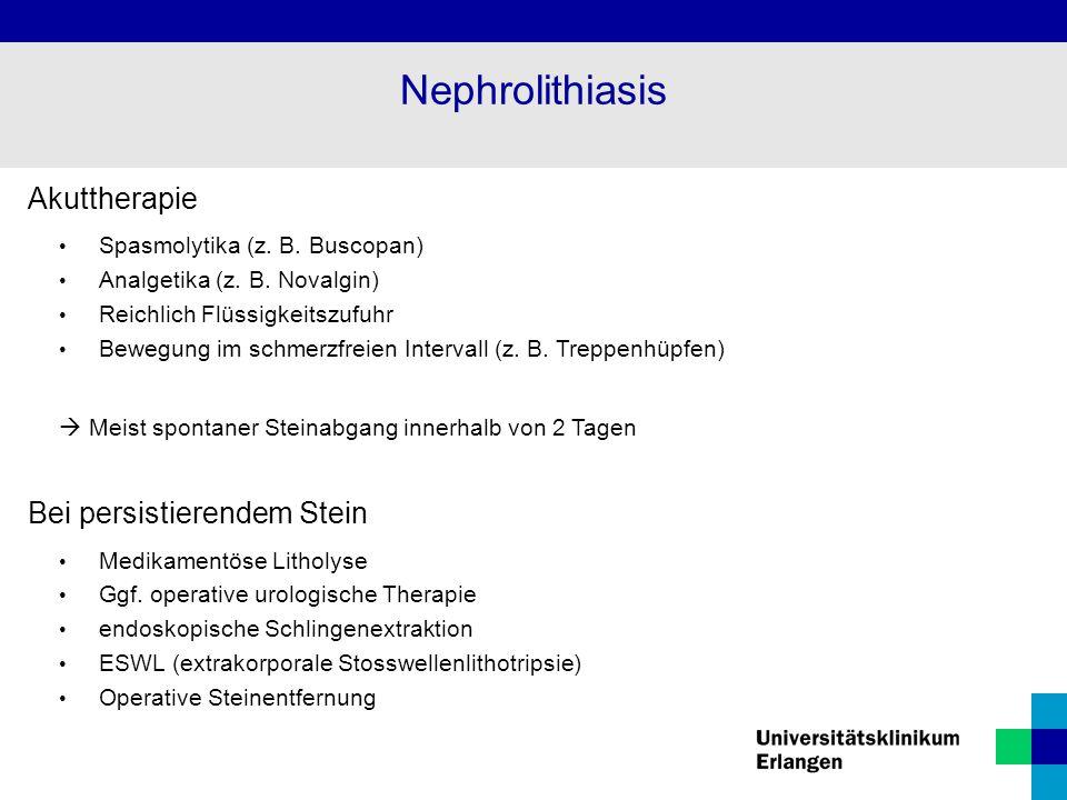 Nephrolithiasis Akuttherapie Bei persistierendem Stein