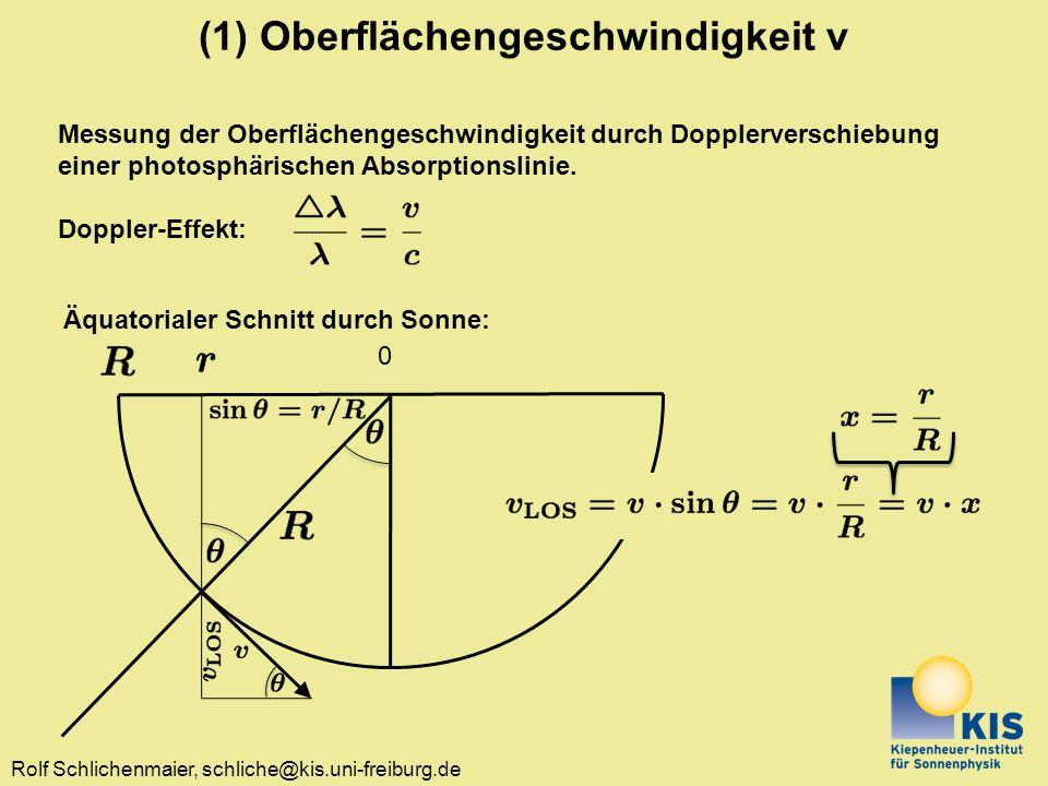 (1) Oberflächengeschwindigkeit v